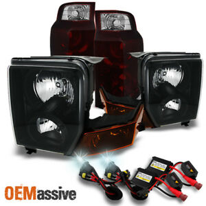 Fit 06 10 Jeep Commander Black Headlights Dark Red Tail Lights 6000k Hid