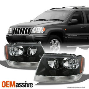 Fit 99 04 Jeep Grand Cherokee Replacement Black Headlights Headlamps L R