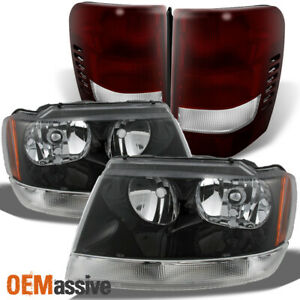 Fit 99 04 Jeep Grand Cherokee Black Headlights dark Red Tail Lights Replacement