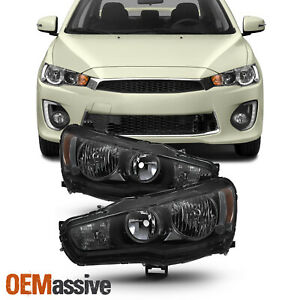 Fit 2008 2017 Lancer 08 2015 Evolution Evo X Black Smoked Headlights Replacement