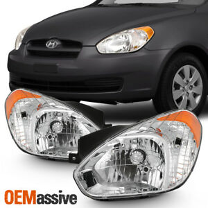 Fits 2006 2011 Accent Sedan Hatchback Chrome Headlights Complete Replacement Set