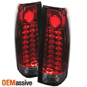 Fits 88 98 C10 C k Sierra Pickup Suburban Tahoe Yukon Red Clear Led Tail Lights