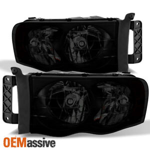 Fit 2002 2005 Dodge Ram 1500 2500 3500 Black Smoked Headlights Lamps Replacement