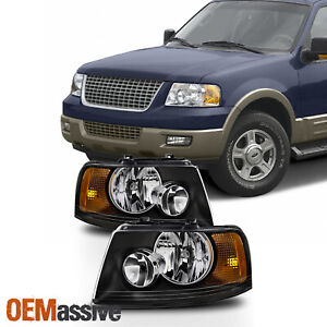 Fit 2003 2004 2005 2006 Ford Expedition Black Headlights Replacement Lamps