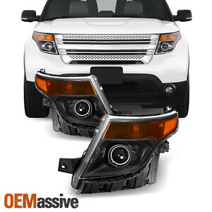 Halogen Models For 2011 2015 Ford Explorer Projector Black Headlights Lh rh Pair