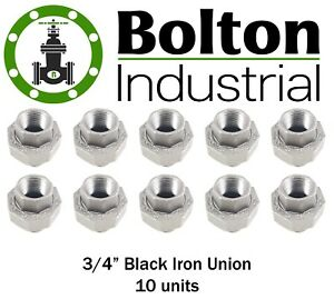 3 4 Black Malleable Iron Union Gas Fittings Plumbing Lot Of 10 Brand New