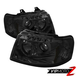 2003 2006 Ford Expedition New Twin Halo Projector Smoke Led Headlight Lamp Set