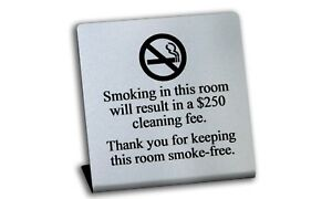 Engraved No Smoking In Room Signs W Fee Silver 200 Signs Free Shipping