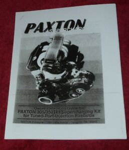 Paxton Supercharger Installation Manual Firebird Tpi Tune Port Injection Copy