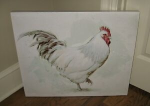 Large Canvas Chicken Wall Picture Farmhouse Primitive French Country Urban Decor