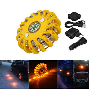 16 led Rechargeable Magnetic Emergency Hazard Warning Light 9 In 1 Strobe Amber