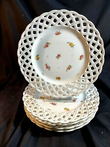 5 Antique European Hand Painted Reticulated Porcelain Plates