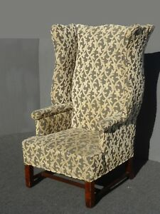 Vintage French Modern Velvet Green Floral Design Throne Wingback Accent Chair