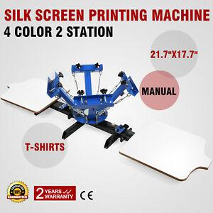 4 Color 2 Station Silk Screen Printing Kit Press Equipment Pressing Diy Machine