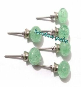 Handcrafted Set Of 6 Pcs Glass Sea Green Bubble Kitchen Cabinet Door Pulls Knobs