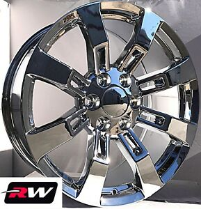 22 X9 Inch Rw Ck375 Wheels For Chevy Truck Chrome Rims 6x139 7 6x5 50 31 Set