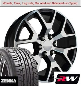 22 X9 Inch Wheels And Tires For Gmc Sierra Replica 5658 Black Machined Rims