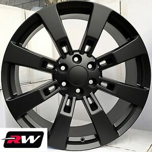 22 X9 Inch Rw Ck375 Wheels For Chevy Truck Satin Black Rims 6x139 7 6x5 50 Set