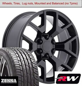 22 X9 Inch Wheels And Tires For Chevy Tahoe Replica 5658 Gloss Black Rims