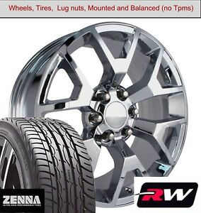 22 X9 Inch Wheels And Tires For Chevy Suburban Replica 5658 Chrome Rims