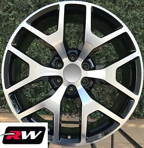 24 X10 Inch Rw 5656 Wheels For Chevy Truck Machined Black Rims 6x139 7 31 Set
