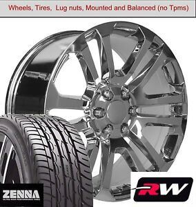 22 X9 Inch Wheels And Tires For Chevy Avalanche Replica 4741 Chrome Rims