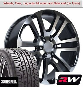 22 X9 Inch Wheels And Tires For Gmc Sierra 1500 Replica 4741 Black Machined Rims