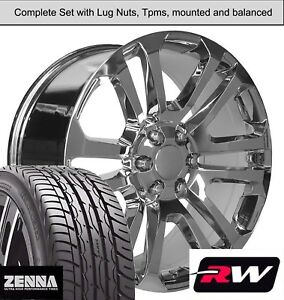22 X9 Inch Wheels And Tires For Chevy Suburban Replica Ck158 Chrome Rims