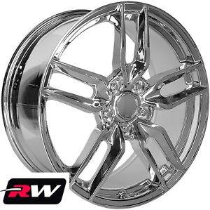 18 X8 5 19 X10 Inch Rw 5634 Wheels For Chevy Corvette Stingray Chrome Rims Set