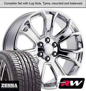 22 X9 Inch Wheels And Tires For Chevy Silverado 1500 Replica 5665 Chrome Rims