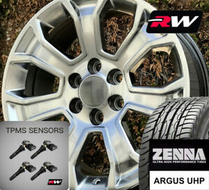 22 X9 Inch Wheels And Tires For Chevy Tahoe Replica 5665 Hyper Silver Rims