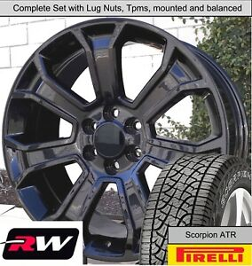 20 X9 Wheels And A T Tires For Chevy Silverado Replica 5665 Gloss Black Rims