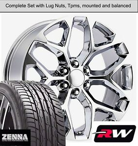 22 X9 Inch Wheels And Tires For Chevy Avalanche Replica Ck156 Chrome Rims