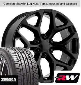 22 X9 Inch Wheels And Tires For Chevy Suburban Replica Ck156 Gloss Black Rims