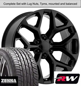 22 X9 Inch Wheels And Tires For Chevy Tahoe Replica Ck156 Gloss Black Rims