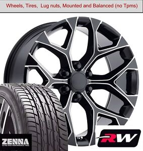 22 X9 Inch Wheels And Tires For Chevy Tahoe Replica 5668 Black Milled Rims