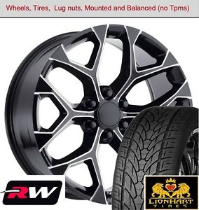 22 X9 Inch Wheels And Tires For Chevy Silverado Replica 5668 Black Milled Rims