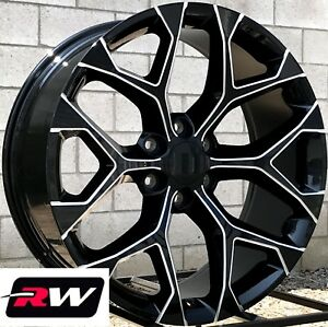 24 X 10 Inch Chevy Tahoe Factory Style Wheels Snowflake Rims Black Milled