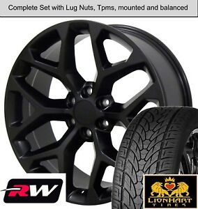 22 Inch Wheels And Tires For Chevy Tahoe Oe Replica Ck156 Satin Black Rims