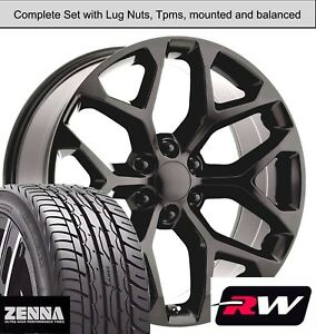 22 X9 Inch Wheels And Tires For Chevy Tahoe Oe Replica Ck156 Satin Black Rims