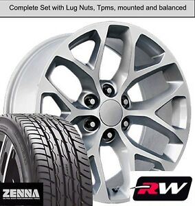 20 Wheels And Tires For Chevy Silverado 1500 Replica Ck156 Silver Machined Rims