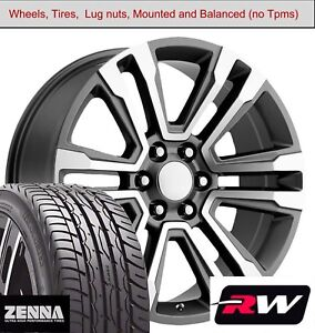 20 Inch Wheels And Tires For Chevy Suburban Replica 5822 Gunmetal Machined Rims