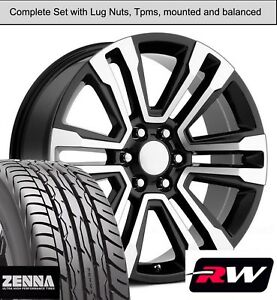 22 X9 Inch Wheels And Tires For Chevy Tahoe Replica 5822 Black Machined Rims