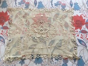 Antique Lace Pillow Brussels Vintage Textiles Rare Christening Baby Gift