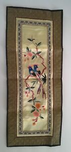 Vtg Silk Chinese Embroidery Panel Birds And Flowers Signed Wall Hanging