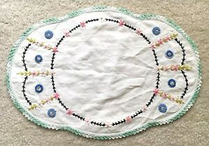 Vintage Hand Embroidered Doily Table Linen Colorful Floral Pattern
