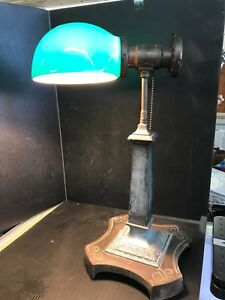 Antique Emeralite Desk Bankers Lamp Green Glass Shade Sb11