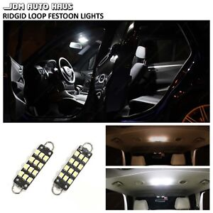 6x White 561 562 44mm Rigid Loop Led Interior Map Dome Door Trunk Lights Bulbs