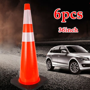 36 Inch Safety Cones Heavy Road Traffic Cones Reflective Red With Black Base 6pc