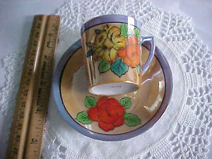 Vintage China Demi Tea Cup Saucer Set Old Japan Luster Ware Hand Painted
